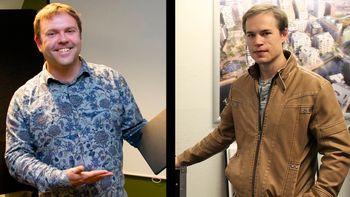 Jan-Erik Vinje (t.v.) er full-stack-utvikler hos Norkart og leder av organisasjonen Open AR Cloud (OARC). Håkon Reisvang er sivilingeniør med master i konstruksjonsteknikk og TU Byggs spaltist om digitaliseringen av byggebransjen.