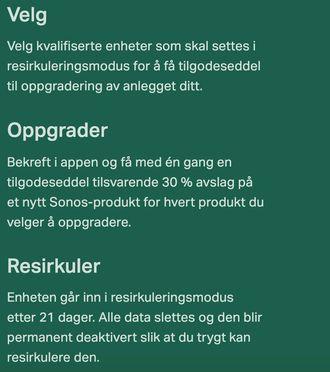 Informasjon om Sonos' innbytteprogram på selskapets norske nettsider.