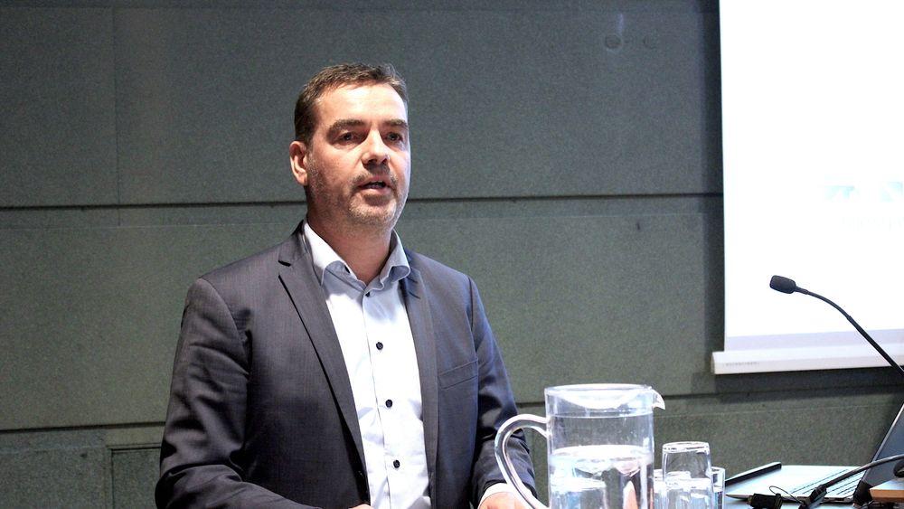 Visepresident i Rederiforbundet og direktør i Maersk Drilling Norge, Jakob Korsgaard, under pressekonferansen 6. januar. Her la samarbeidspartnerne i KonKraft frem planer for nullutslipp på norsk sokkel i 2050.