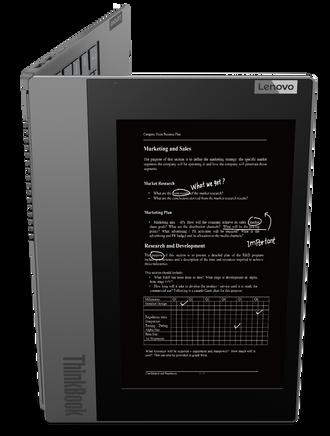 Lenovo Thinkbook Plus har e-ink-skjerm på utsiden, og en vanlig skjerm på innsiden.