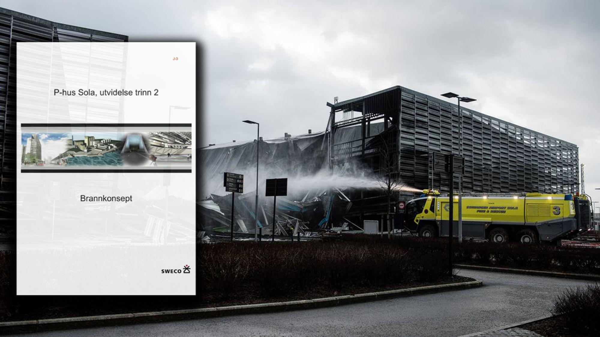 Deler av parkeringshuset er rast sammen etter brannen på Stavanger lufthavn Sola.