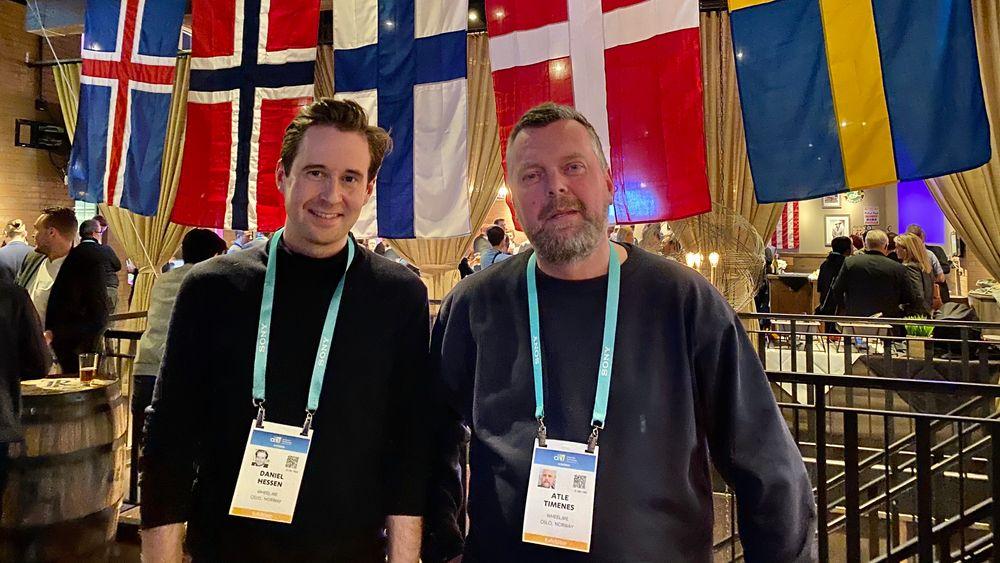 Daniel Hessen (t.v.) og CEO Atle Timenes fikk napp på årets CES da selveste BBC laget et innslag om selskapet. Her på den nordiske samlingen i regi av Nordic Innovation House.