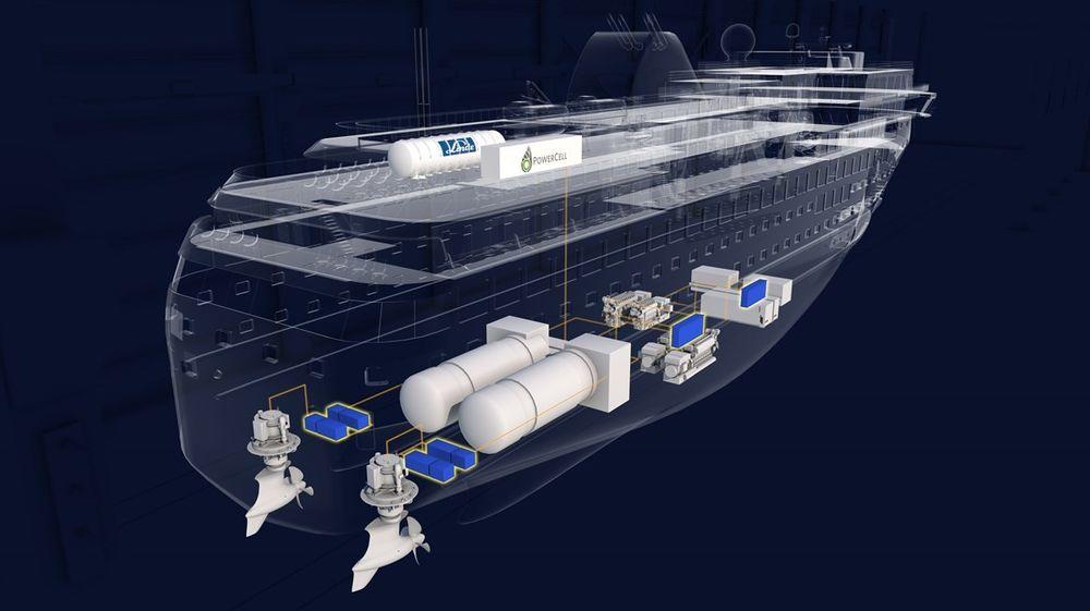 Havyard har jobbet med nullutslippsteknologi for skip med hydrogen og brenselcelle i flere år, blant annet  i forbindelse med Kystruteskipene. Her sees framdriftssystem for et skip av kystrutestørrelse med LNG-motorer/tanker, azipull-propeller og H2-tank og brenselceller på ett av de øverste dekkene.