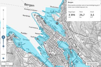 Visualisering fra Kartverket om stormflo og fremtidig havnivå