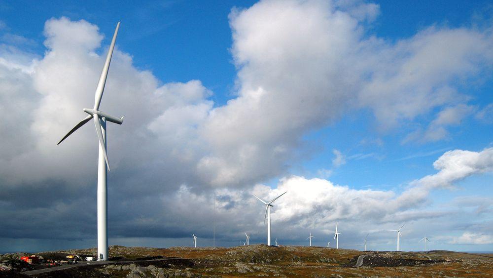 Bildet er fra vindkraftparken på Hitra.