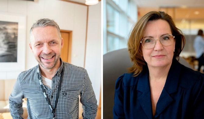 NRKs distriktsdirektør Marius Lillelien (til venstre) og ny utviklingsredaktør med ansvar for strategiske satsninger og samarbeid på tvers av Region Sørøst, Jannicke Engan.