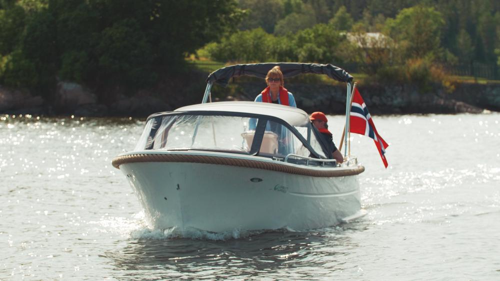 Elektrisk sjekte fra Green Waves på Gjeving. Oppstartsselskapet Kruser vil lage en båtpool i Oslofjorden til våren med elektriske fritidsbåter av denne typen.