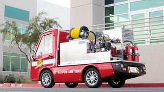Minibrannbilen koster en tidel av vanlige brannbiler og kan slokke branner i parkeringshus og andre trange steder