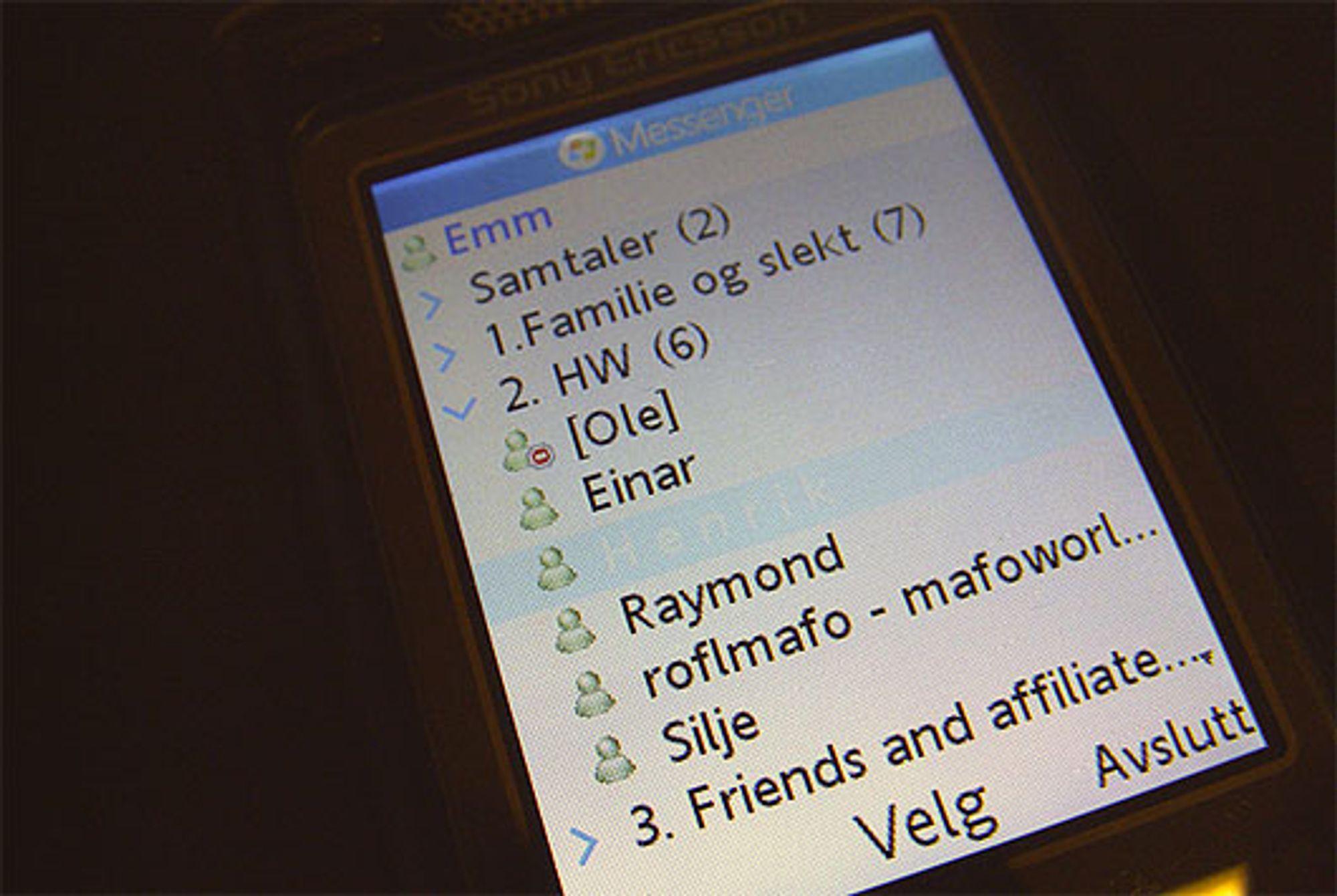 Telenors MSN-klient. (Foto: Marius Valle)