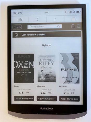Norlis ebok-butikk er standard på Inkpad X-modellene som selges i Norge. Den er integrert med Bokskya, så du kan laste ned bøker du har kjøpt i andre norske ebok-butikker.