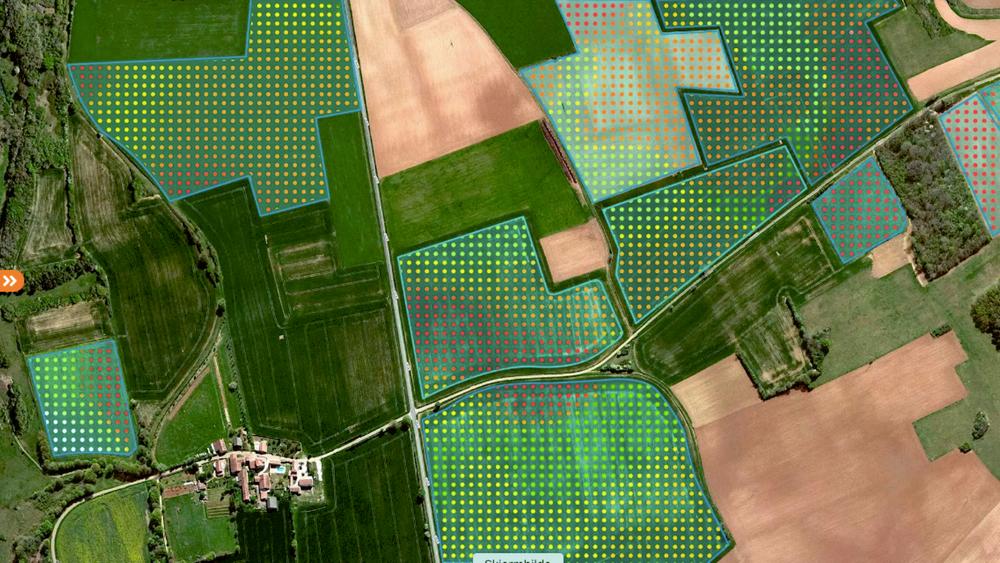 Ved å analysere satellittbilder av bondens åkre, beregner Yara veksten i de ulike delen av jordene og viser med ulike fargekoder hvor det trengs mer nitrogen.
