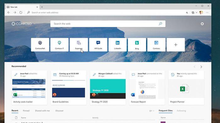 Ny fane-siden kan tilpasses med informasjon fra bedriftens eget intranett, filer fra Office 365 og samtaler fra Microsoft Teams.