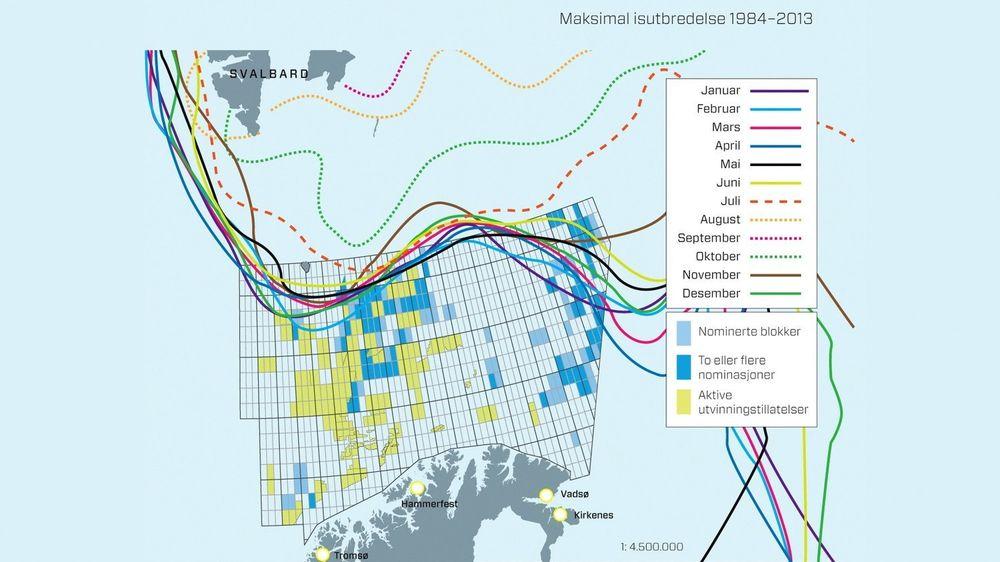 Kartet viser hvor langt isen beveger seg gjennom årets 12 måneder. Oversikten er basert på meteorologiske data fra de siste 30 årene. Kilder: Oljedirektoratet og Polarinstituttet