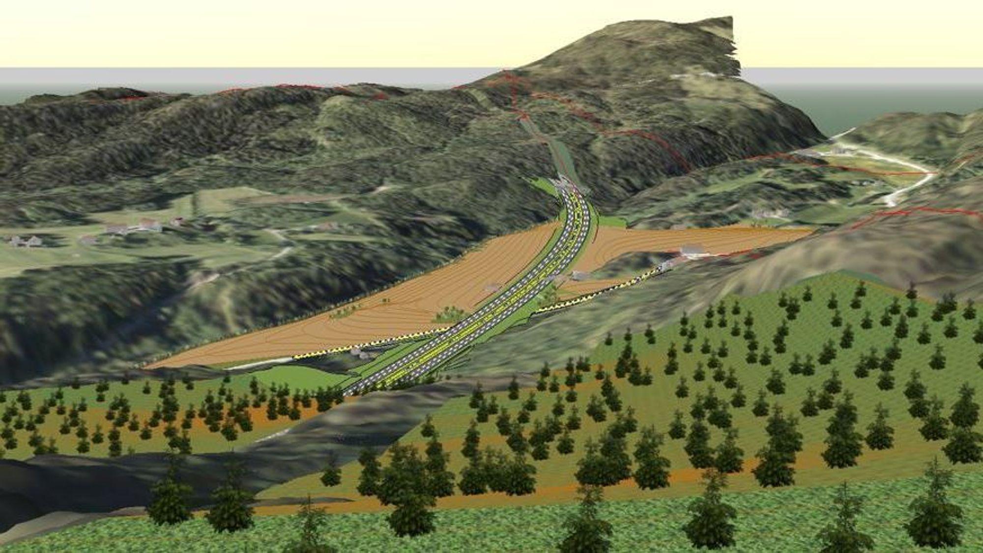 Ved å dele den lange tunnelen i to og ha kryssingen av Langsteindalen i dagen kutter Nye Veier kostnadene med 200 millioner kroner.