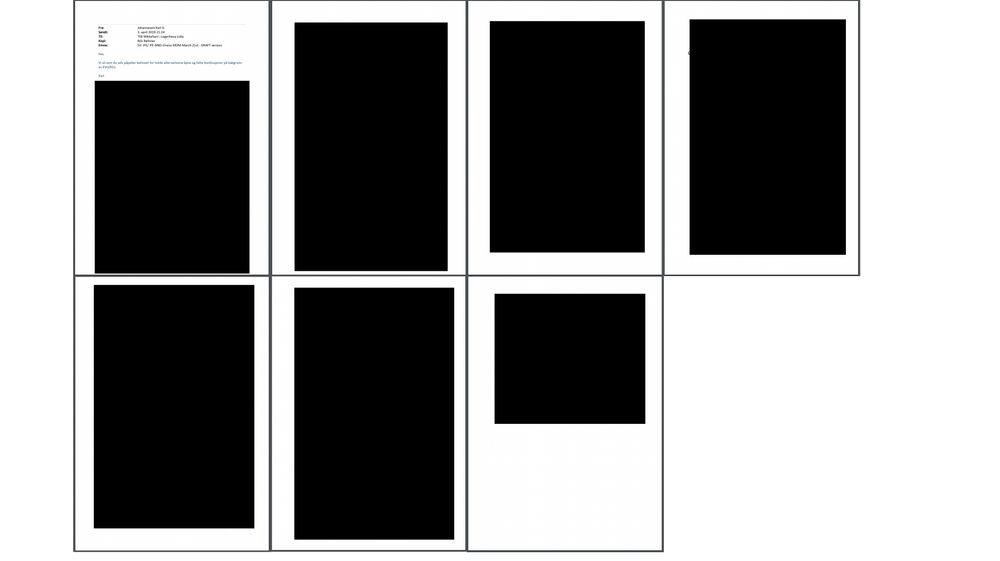 Ett av dokumentene TU har fått «delvis innsyn» i. Foruten epostens metadata kan vi skimte det som kanskje er bokstaven «d» høyt oppe til venstre på side 4 i dokumentet.