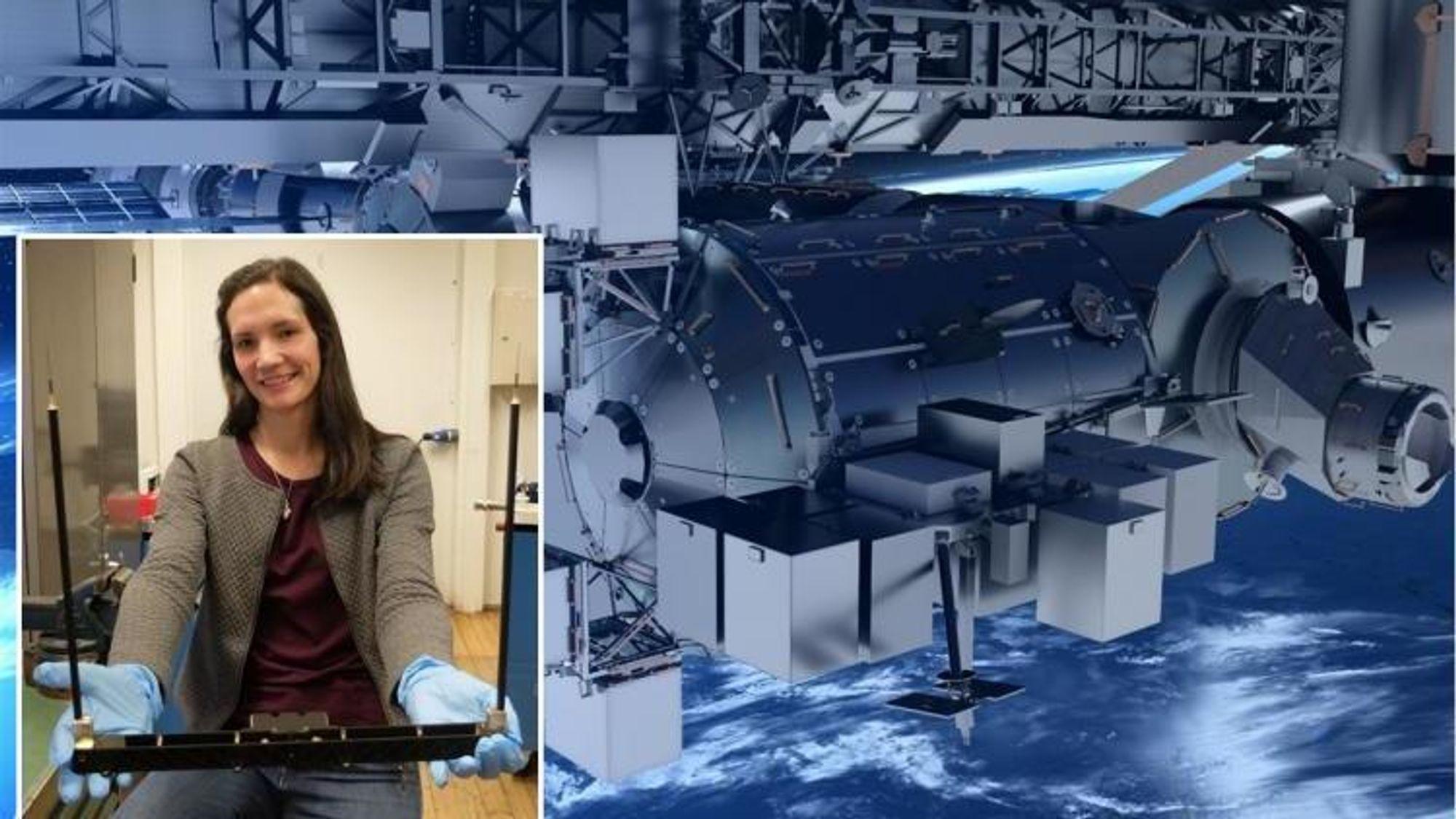 Overingeniør Maren Charlotte Lithun med oppfinnelsen som snart skal festes til Den internasjonale romstasjonen