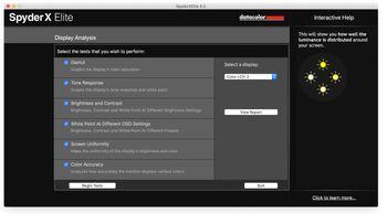 Vi bruker diagnostikkprogramvare fra Datacolor til både analyse og kalibrering av skjermen.