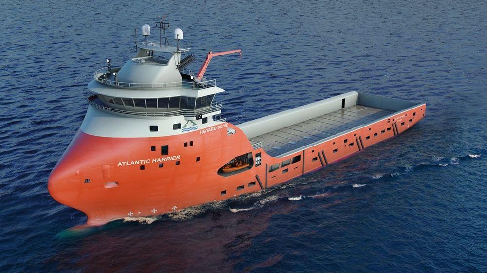 Illustrasjonen viser et forsyningsskip med  Havyard  833 WE design.