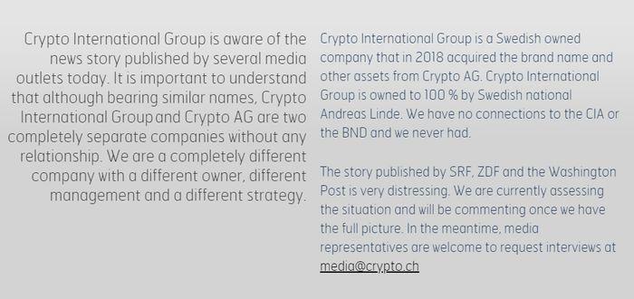 Uttalelse på nettstedet til Crypto International om avsløringene.