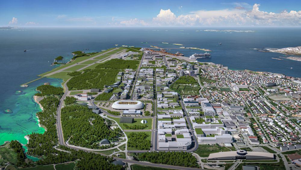 Ny by: Store deler av Bodø kommune er engasjert i planleggingen av den nye bydelen som skal bygges på området til den sivile flyplassen, mens ny flyplass skal bygges der kampflybasen lå tidligere ut mot sjøen.