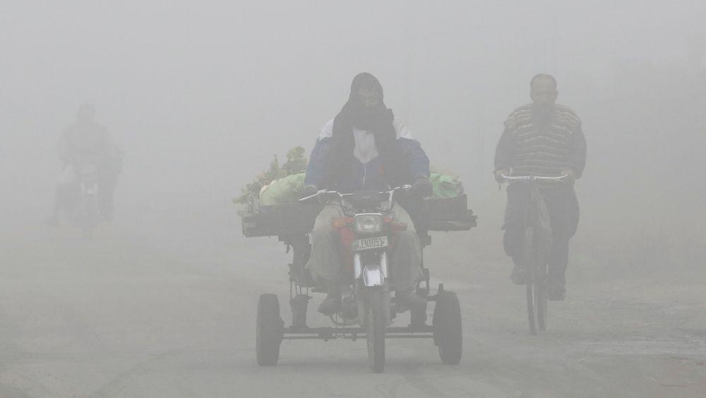 En grønnsaksselger kjører gjennom Lahore i Pakistan, en av mange storbyer i verden der innbyggerne lider under dårlig luftkvalitet. Nå har forskere forsøkt å anslå hvor mye luftforurensningen koster verden.