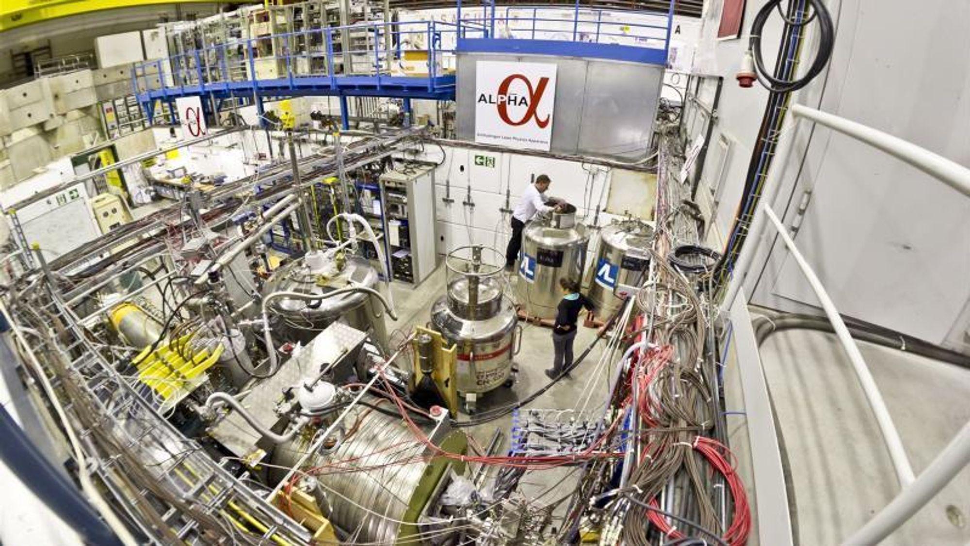 Et eldre foto fra forsøkshallen ved CERN, som huser ALPHA-eksperimentet.