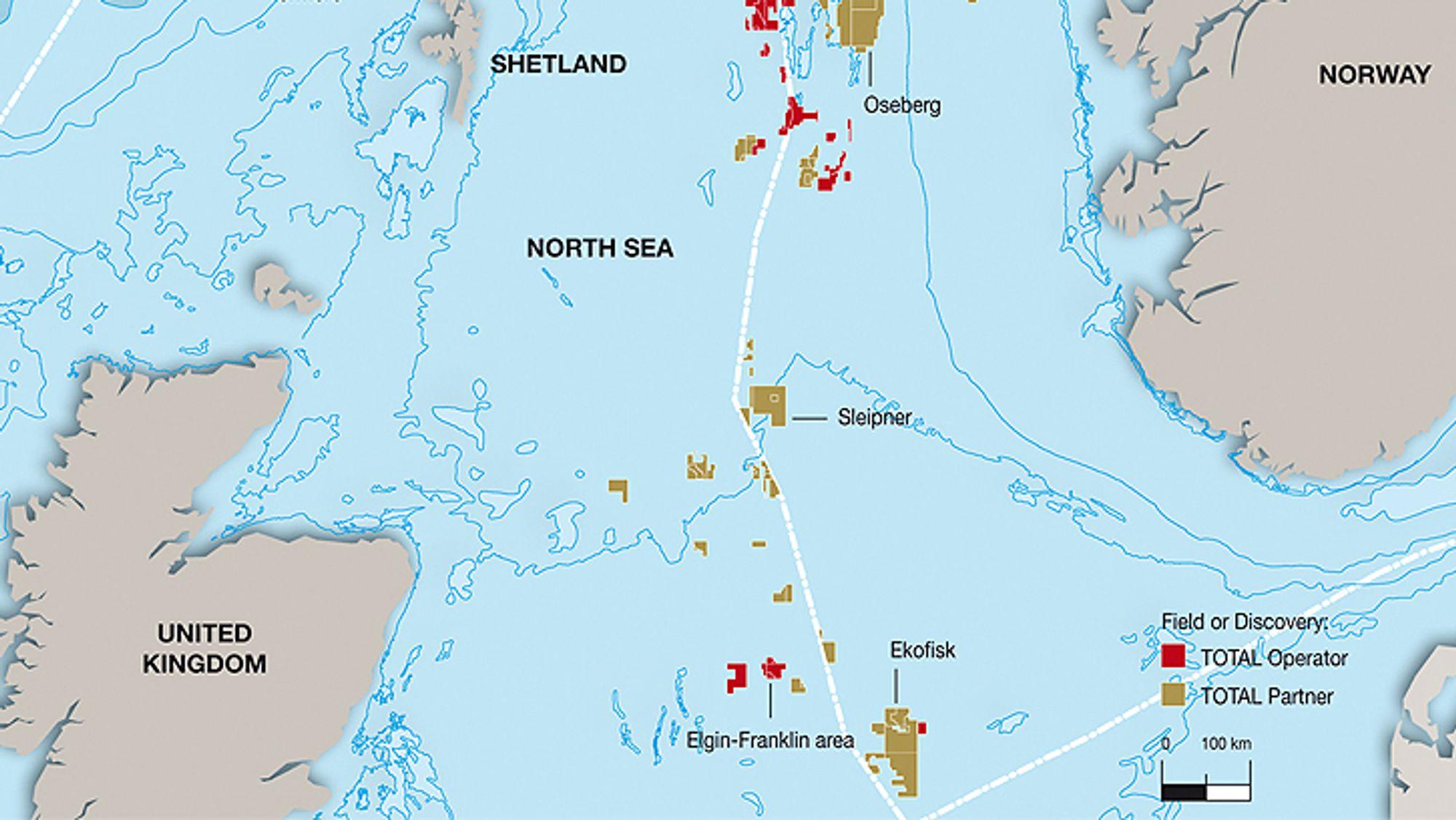 Elgin og Shearwater ligger rett vest for Ekofisk, på britisk side. ETAP ligger litt lenger nord. Det er kortere fra feltene til Skottland enn til Norge, likevel har operatørene søkt om å få koble plattformene til kraftnettet i Norge.
