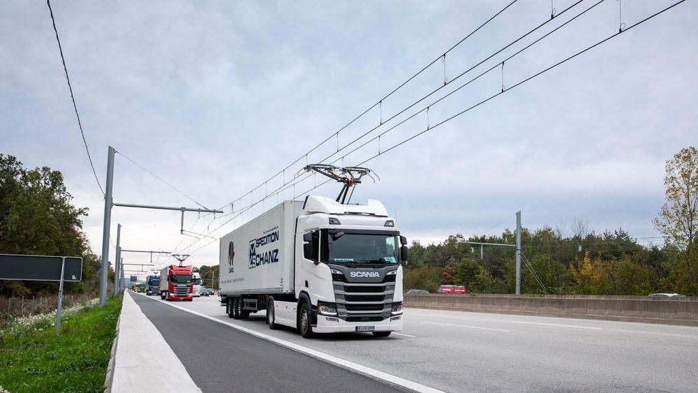 Fra et tysk prosjekt med kjøreledning i Hesse i 2017.