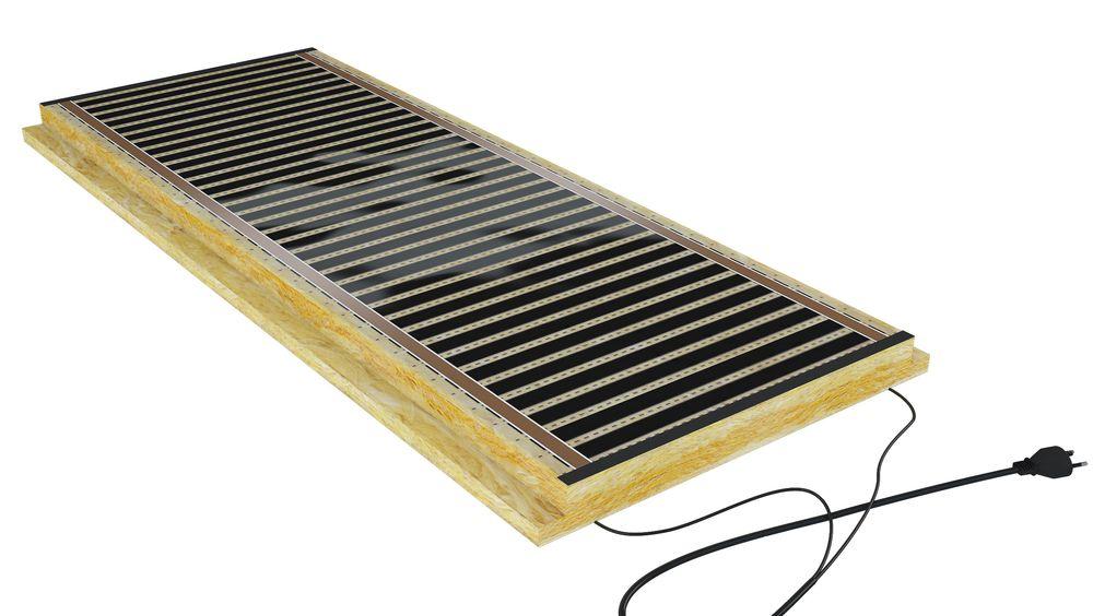 Elementene består av varmefolie, profilert steinull og tilkobling.