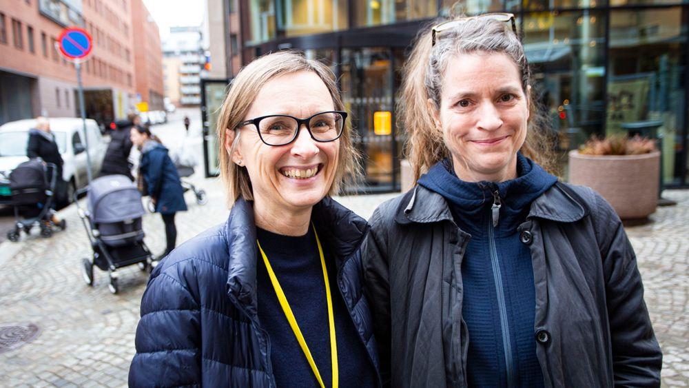 Forskerne Katharina Herlofson og Tale Hellevik fra Velferdsforskningsinstituttet NOVA.
