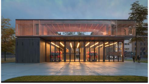 Ny brannstasjon får fasade i brent tre