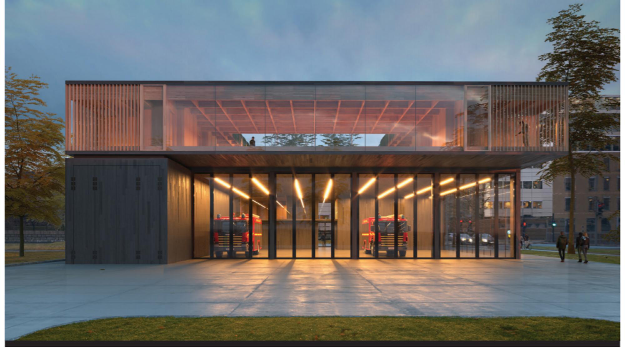 Glød er navnet arkitektene har satt på det som ble vinneren i en hard konkurranse med 100 deltakere. Den nye brannstasjonen skal stå ferdig i 2023.