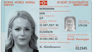 Dette utkastet fra 2018 viser hvordan de nye nasjonale ID-kortene skal se ut.