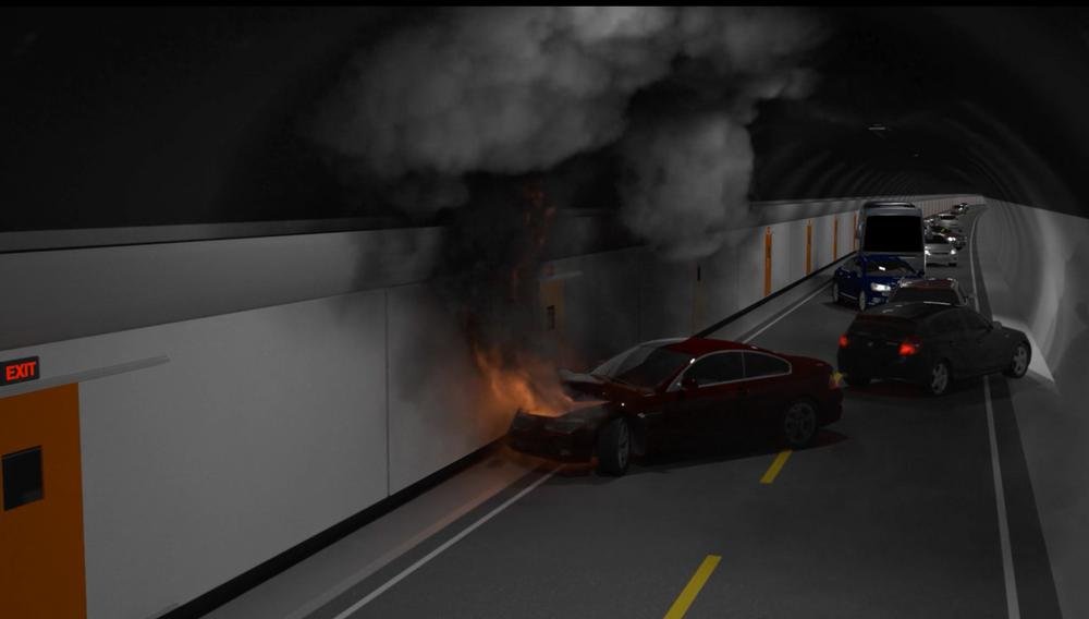 Redningskorridoren skal felles ut fra sideveggen i tunnelen ved brann.