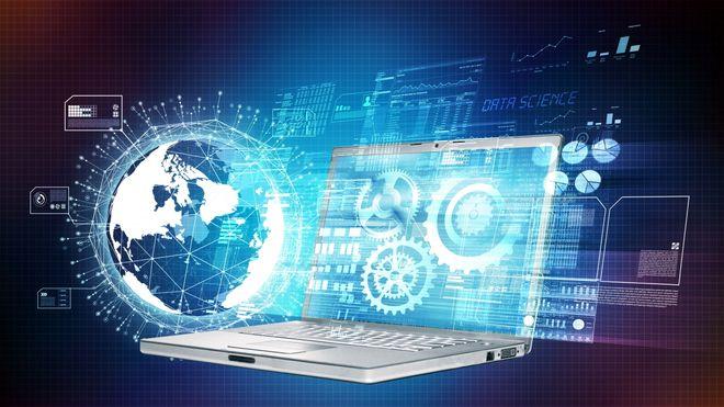 Illustrasjon med laptop, tannhjul, jordklode og diverse diagrammer.