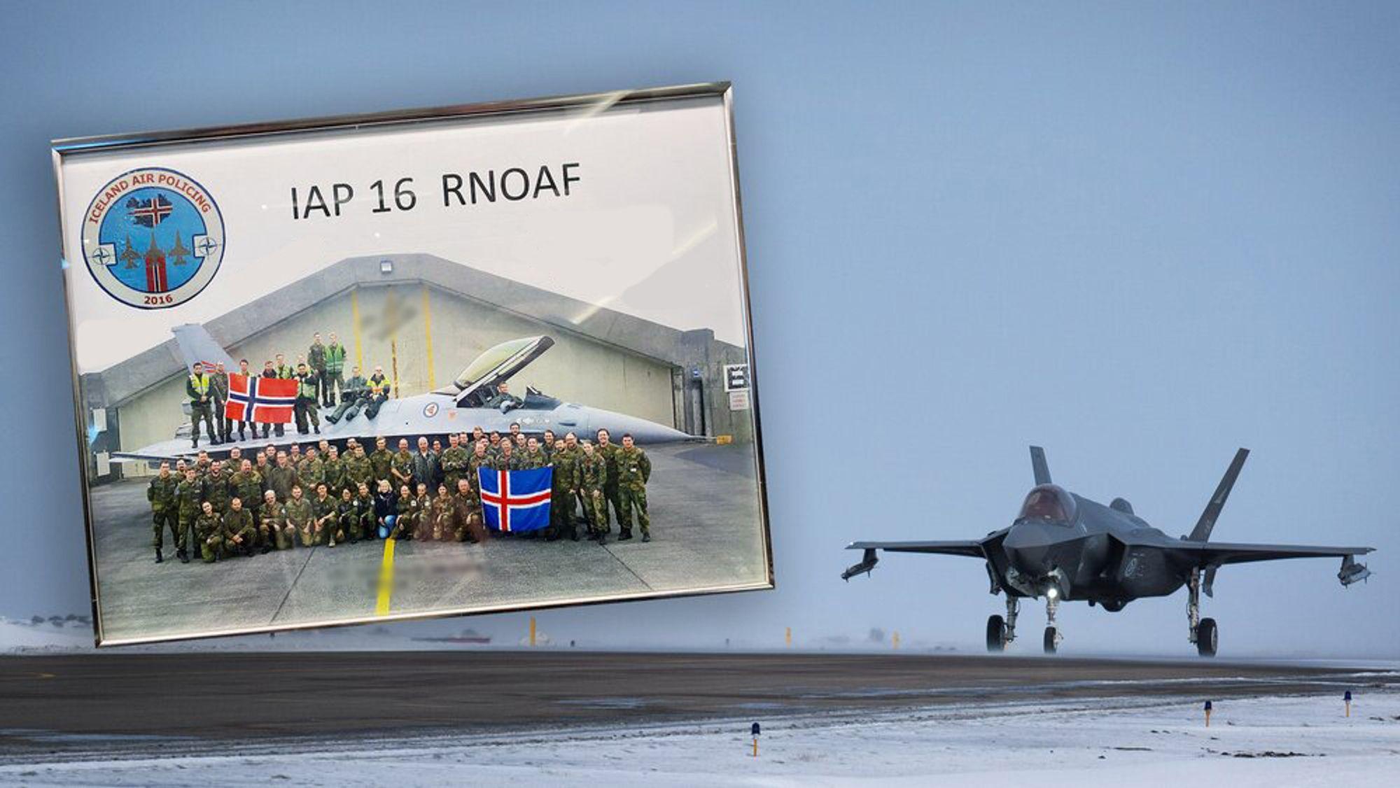 Etter fire års pause, der Luftforsvaret har hatt nok med innfasing av nye kampfly, har de nå i mars igjen tatt på seg «Iceland Air Policing»-oppdraget. Bildet med F-16 viser detasjementet i 2016 og henger på veggen på messa på Keflavik.