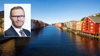 Jens Middborg i Capgemini innfelt på bilde av Nidelva i Trondheim sentrum.