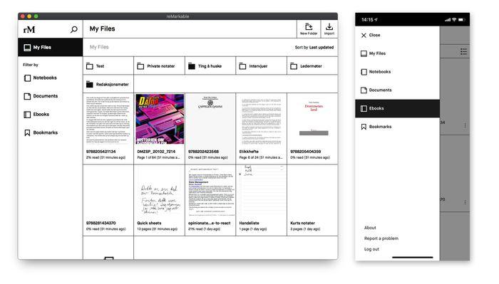 Remarkable-appen for Mac (til venstre), IOS, Android eller Windows kan brukes til å overføre dokumenter til og fra notatblokken/lesebrettet.