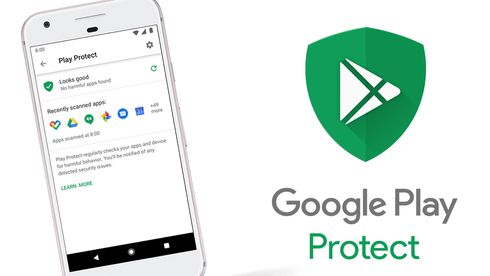 Google Play Protect, logo og mobil.