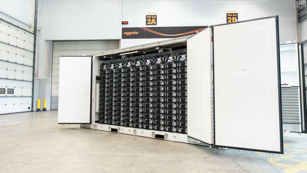 Aggrekos batterier kommer som 20 fots containere.