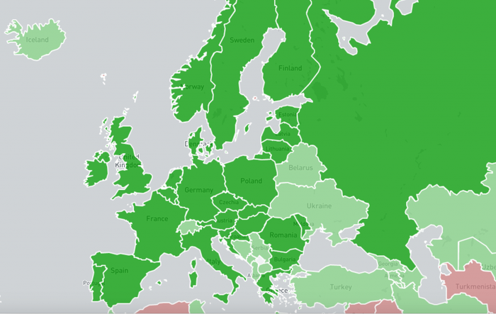 Europeiske land som hvor Shadowservers tjenester benytter av de nasjonale CERT-ene/CSIRT-ene.