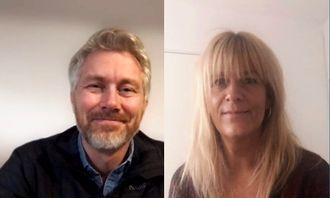Olav T. Sandnes, sjefredaktør og administrerende direktør i TV 2 og Kathrine Haldorsen, programredaktør i TV 2.
