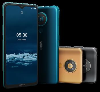 Nokia 5.3 har et «quad-kamera» på baksiden med egen nattmodus.