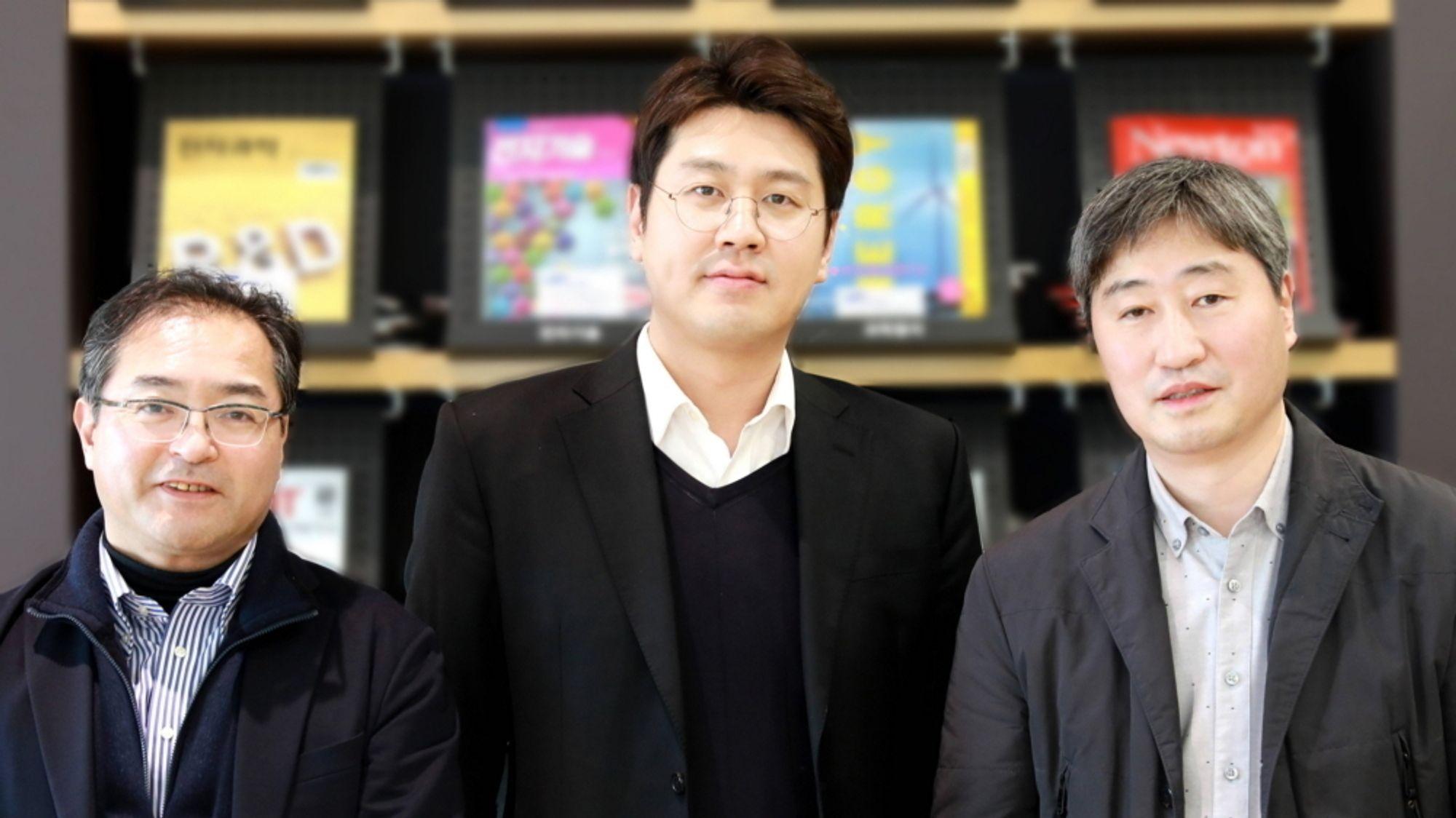 Forskerne Yuichi Aihara, til venstre, Yong-Gun Lee og Dongmin Im mener å ha løsningen som gir lavere brannfare og betydelig økt rekkevidde for elbiler.