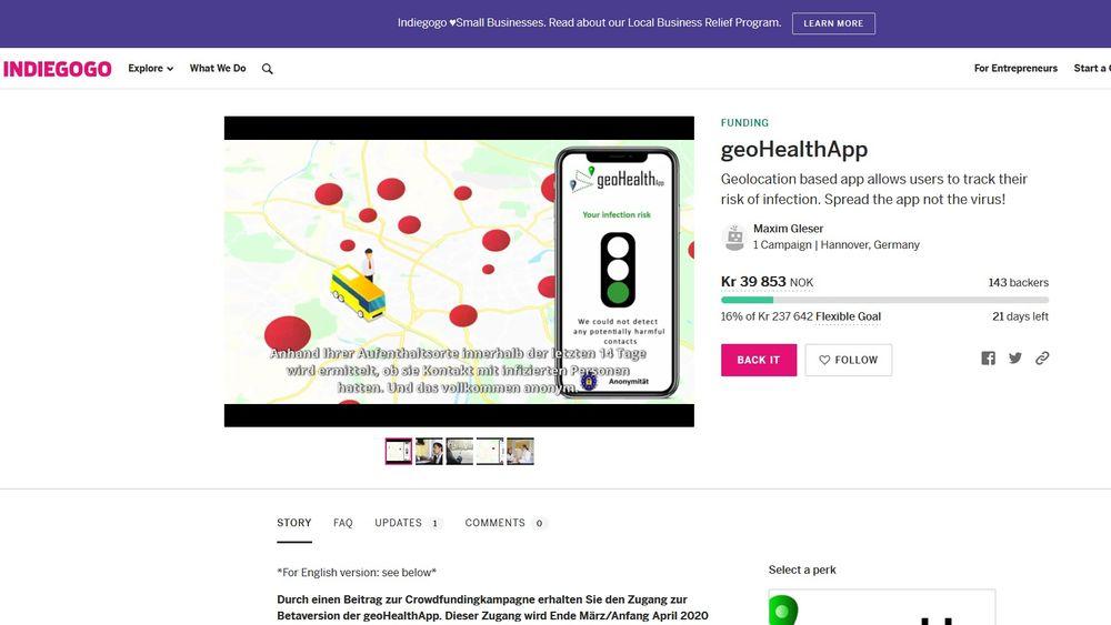 Crowdfundig skal bidra til å få på plass en app som bruker telefonens gps-logg til å varsle om smittefare.