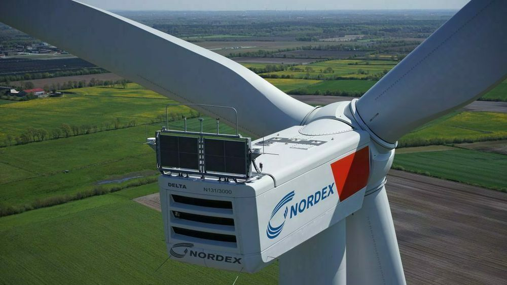 En av Nordex sine tyskproduserte turbiner. Her installert i Danmark.