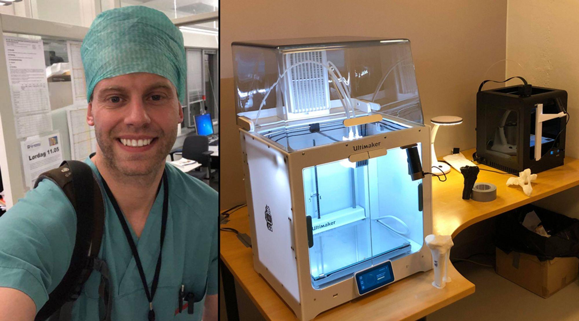 Vil lage og dele oppskrift for personlig smittevernutstyr: Ahus-lege Max Temmesfeld og 3D-laben han vil bruke til å lage smittevernutstyret.