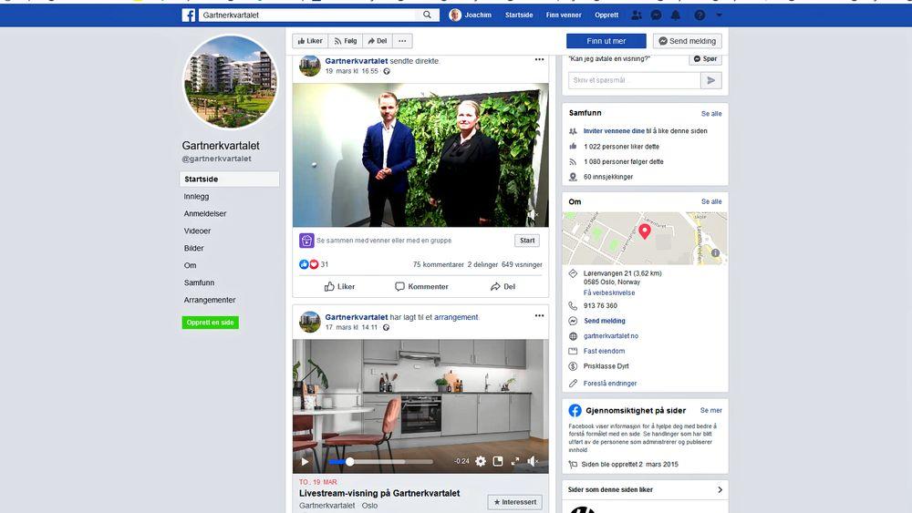 Facebook var kanalen Veidekke valgte for å nå kunder i en tid der tette forsamlinger er forbudt. Det ble en suksess, og Veidekke fortsetter med web-visninger.
