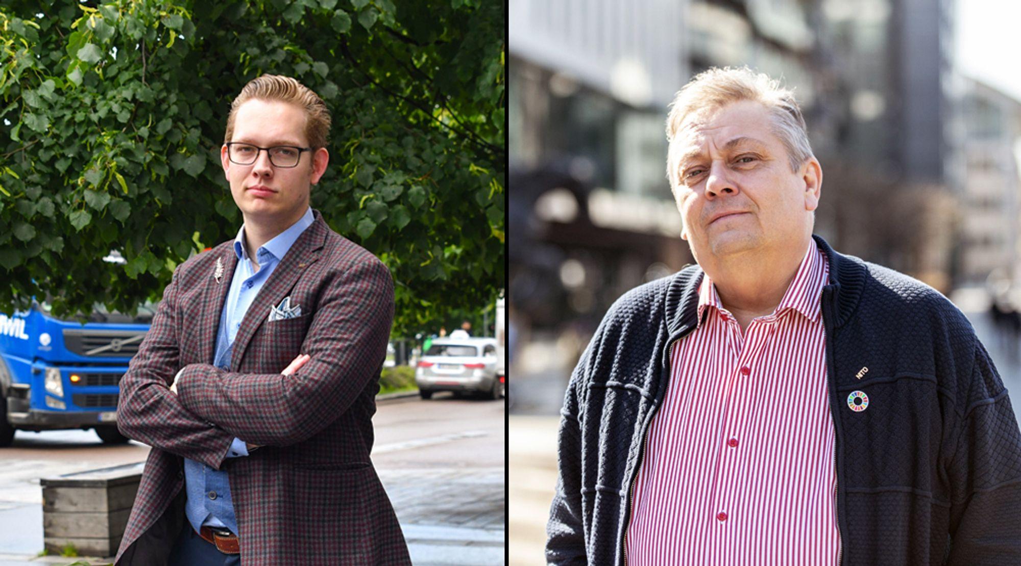 Studentleder Ole Marius Svendsen og president Trond Markussen i Nito.