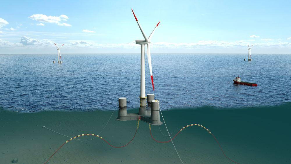 Slik skal den bli: Dr techn Olav Olsen AS har testet ut sitt flytende design hos SINTEF Ocean.
